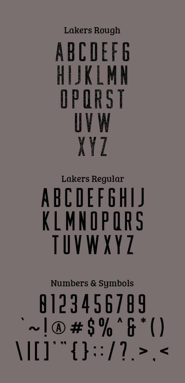 Lakers Sans Serif Font Letters