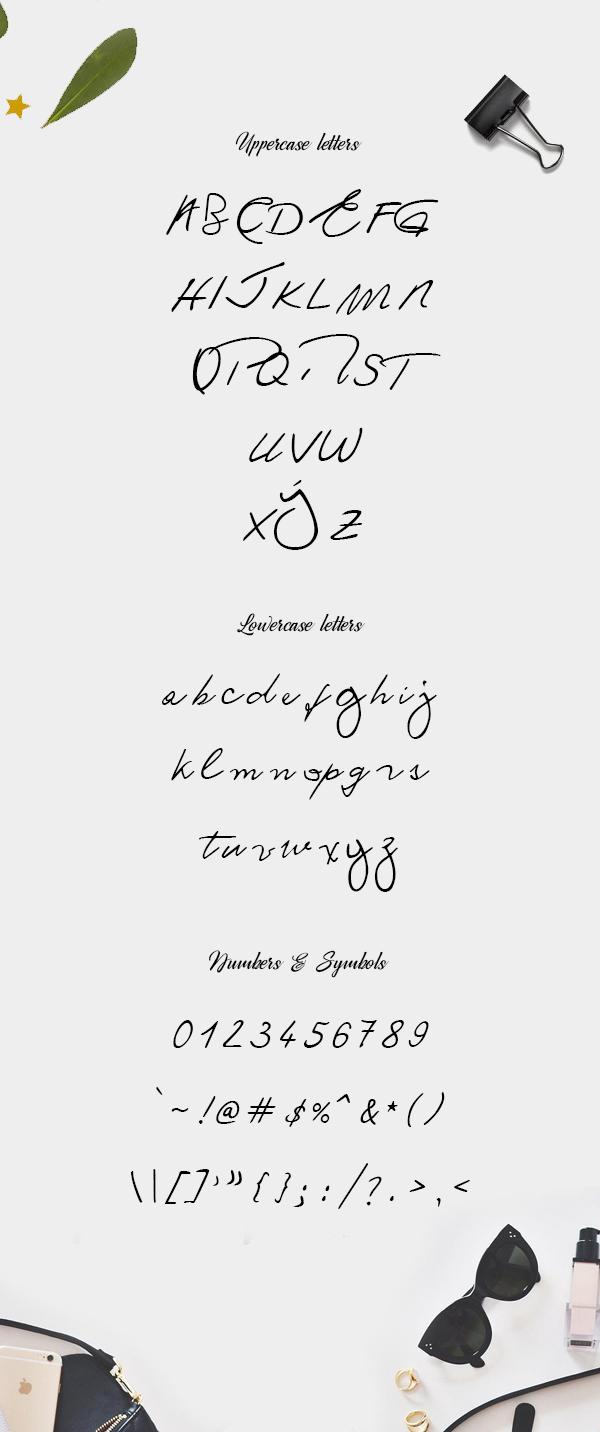 Ronald Handwriting Font Letters