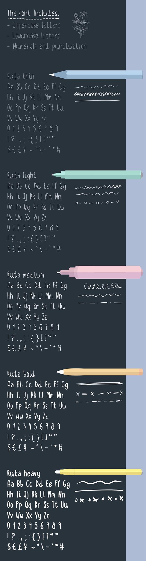 Ruta Handwritten Font Letters