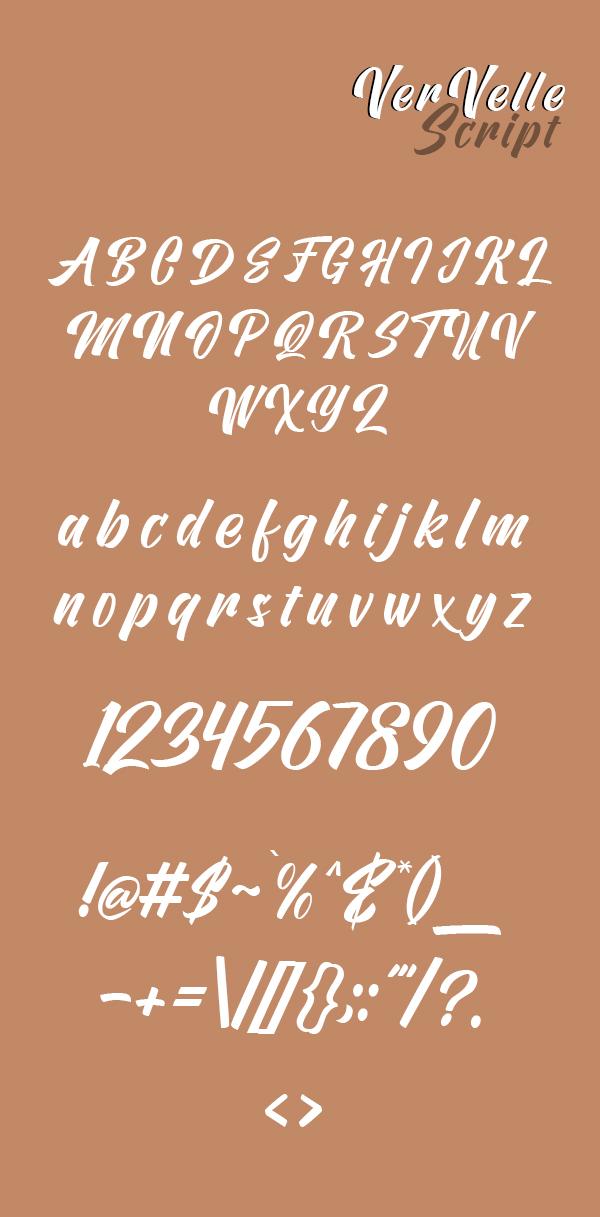 Vervelle Font Letters