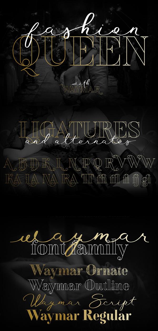 Waymar Outline Font Letters