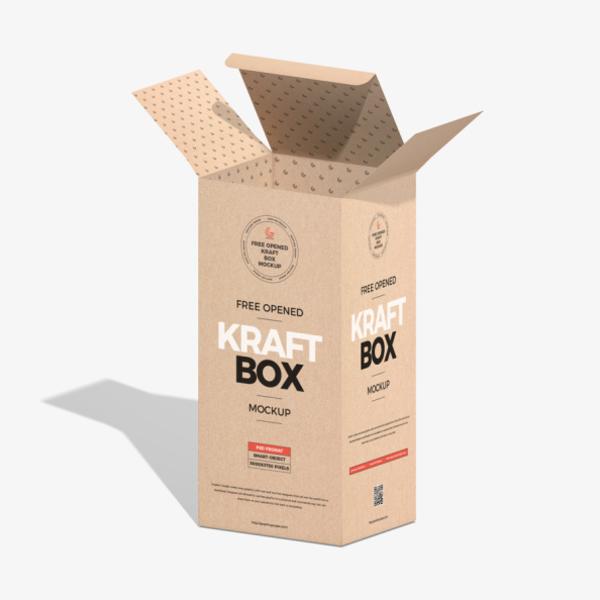 Free Opened Kraft Box Mockup