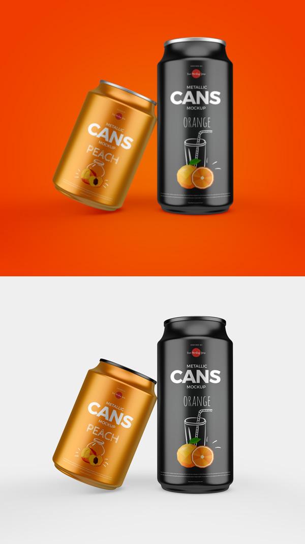 Free Metallic Cans Mockup PSD