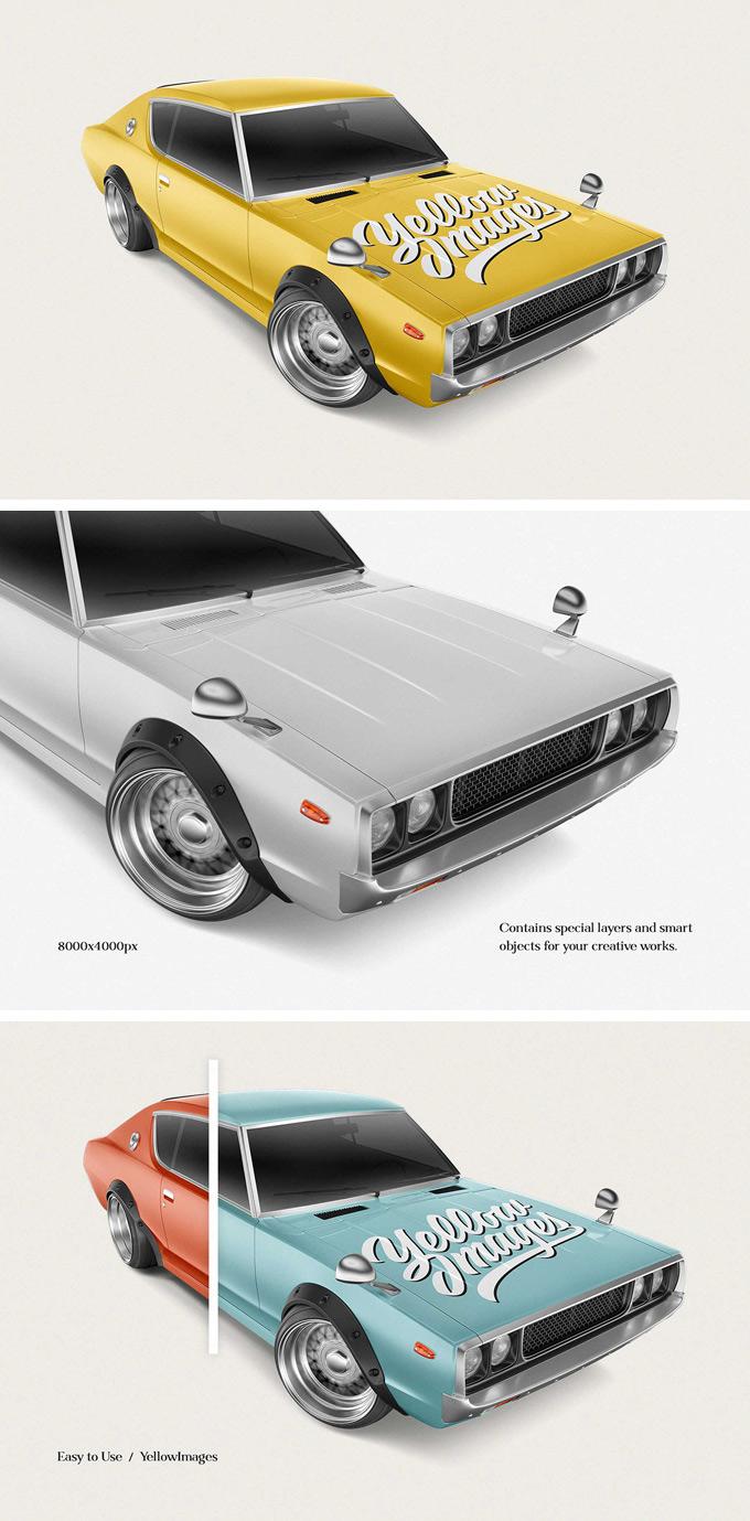 Free Retro Sport Car Mockup
