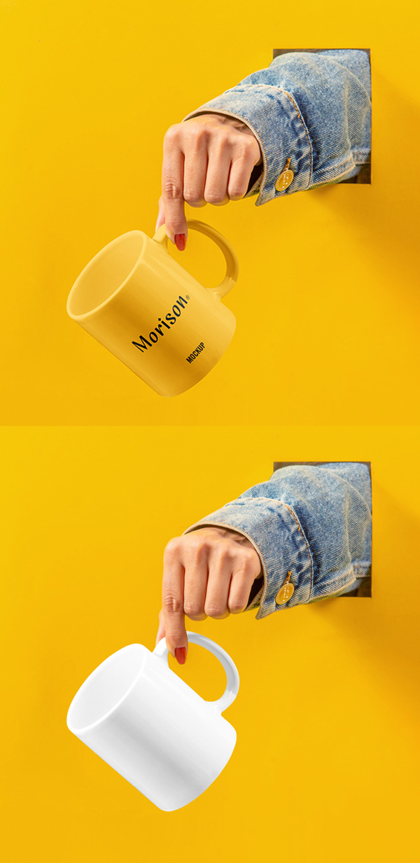 Free Cup with Hand Mockup PSD