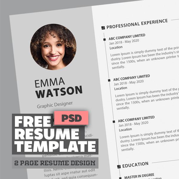 Free CV / Resume Template PSD