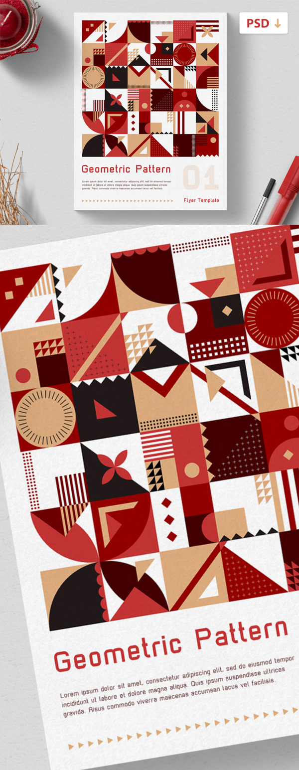 Free Flyer Template - Geometric Pattern