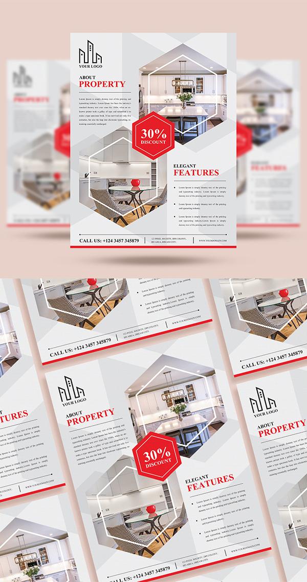 Simple Creative Real Estate Flyer PSD Template