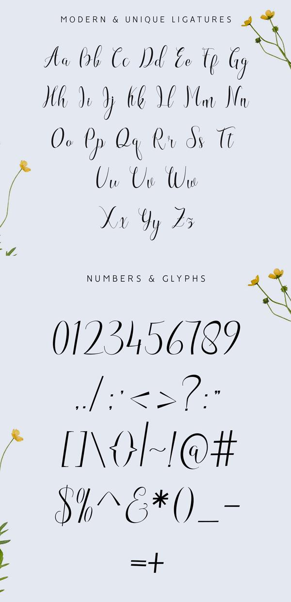 Amettha Free Font Letters