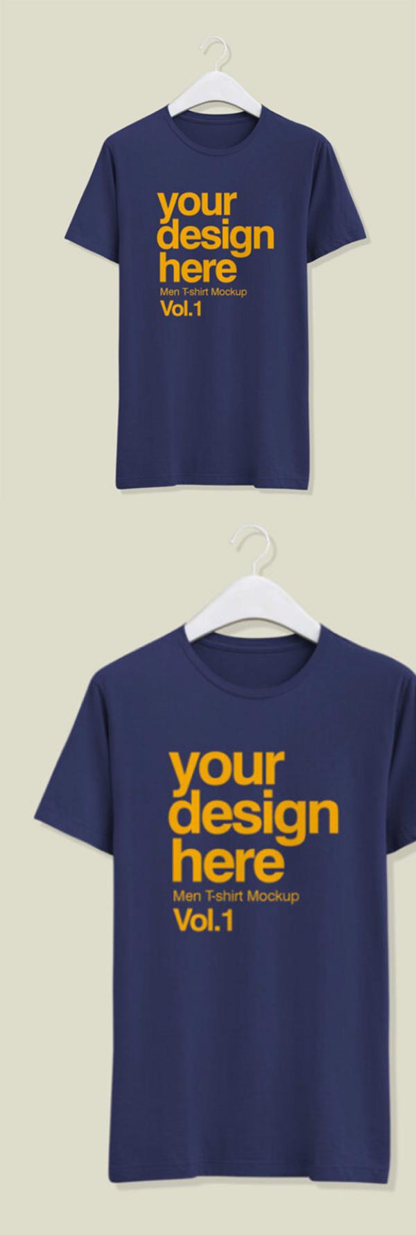 Free T-Shirt for Men on a white Hanger Mockup
