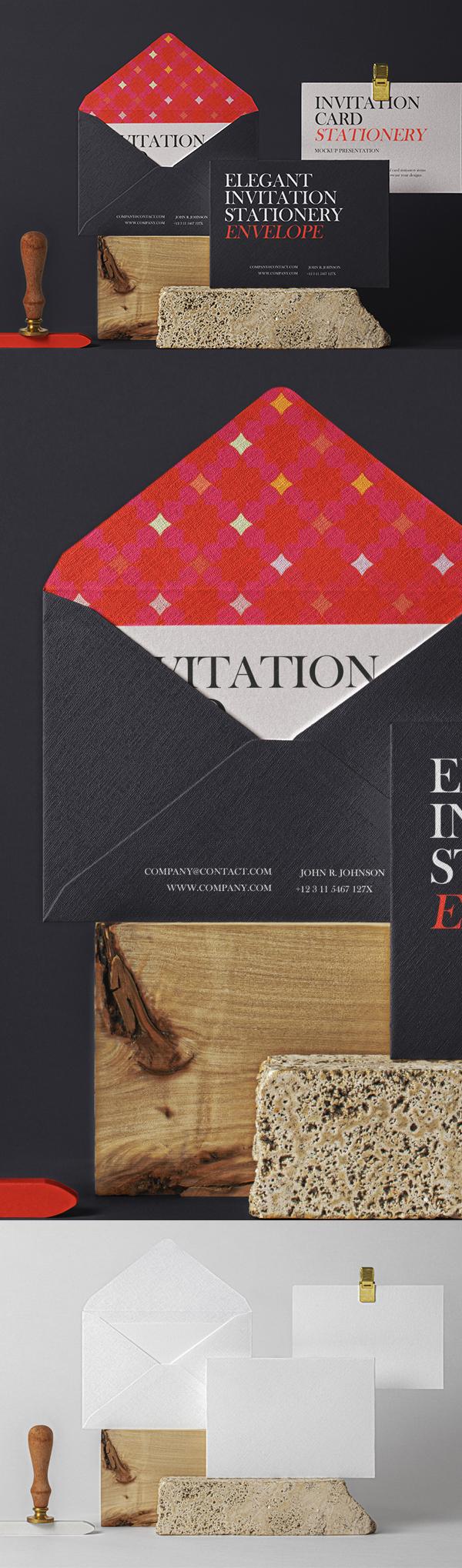 Free Elegant Psd Invitation Mockup Set