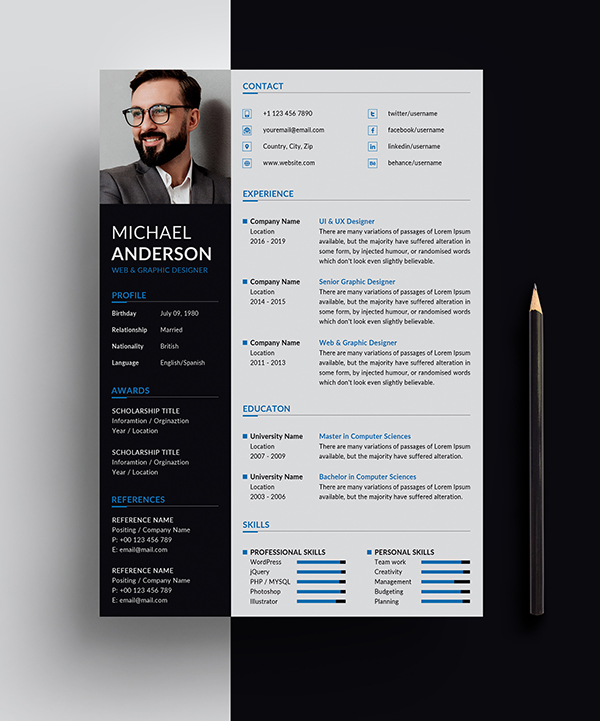 Free Resume + Cover Letter Templates (PSD) - 1