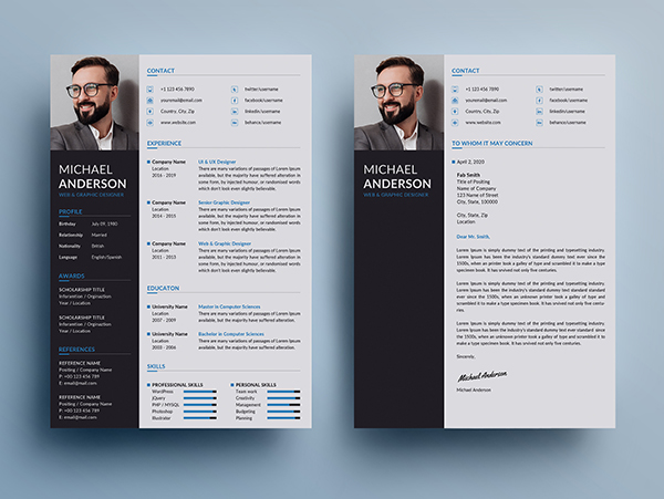 Free Resume + Cover Letter Templates (PSD) - 5