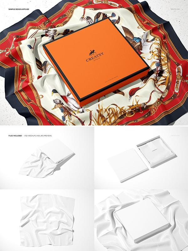Silk Scarf Box Mockup Set