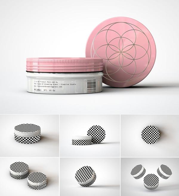 Round Cosmetic Tin Mockup