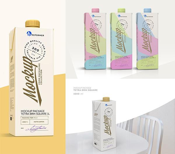 Milk Carton 5 Mock-Ups files
