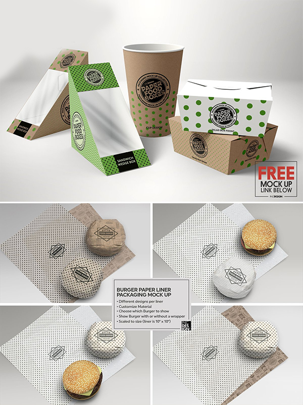 Burger Paper Liner Packaging Mockup