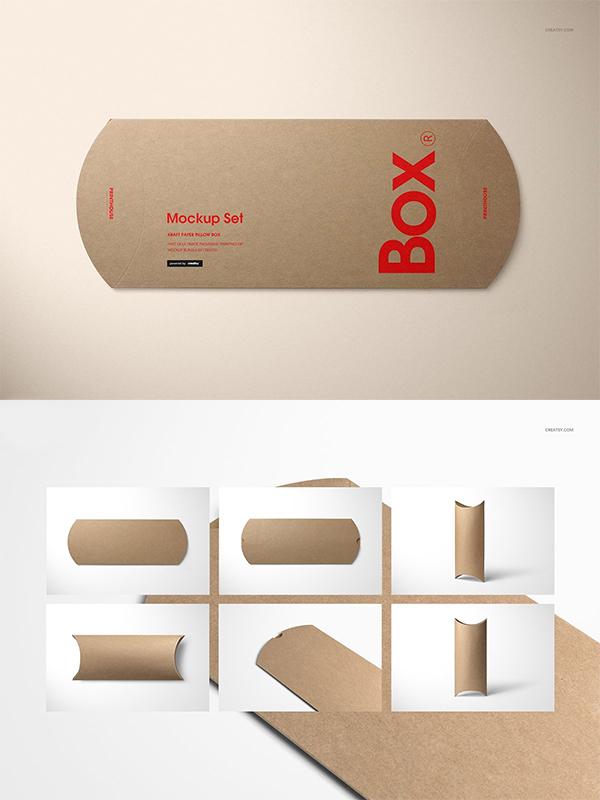 Kraft Paper Pillow Box Mockup Set
