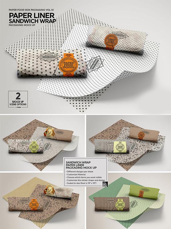 Wrap or Burrito Paper Liner Mockup