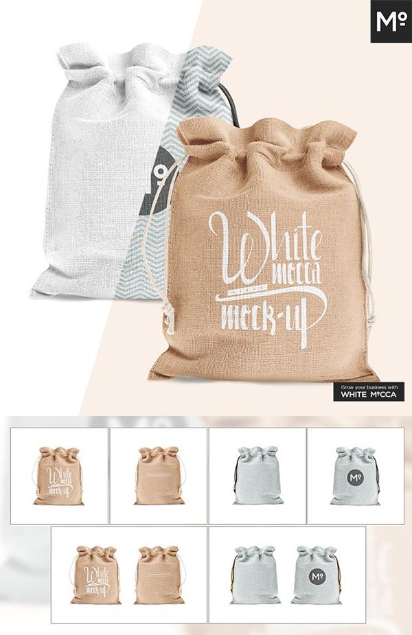 Drawstring / Burlap Jute Bag Mock-up