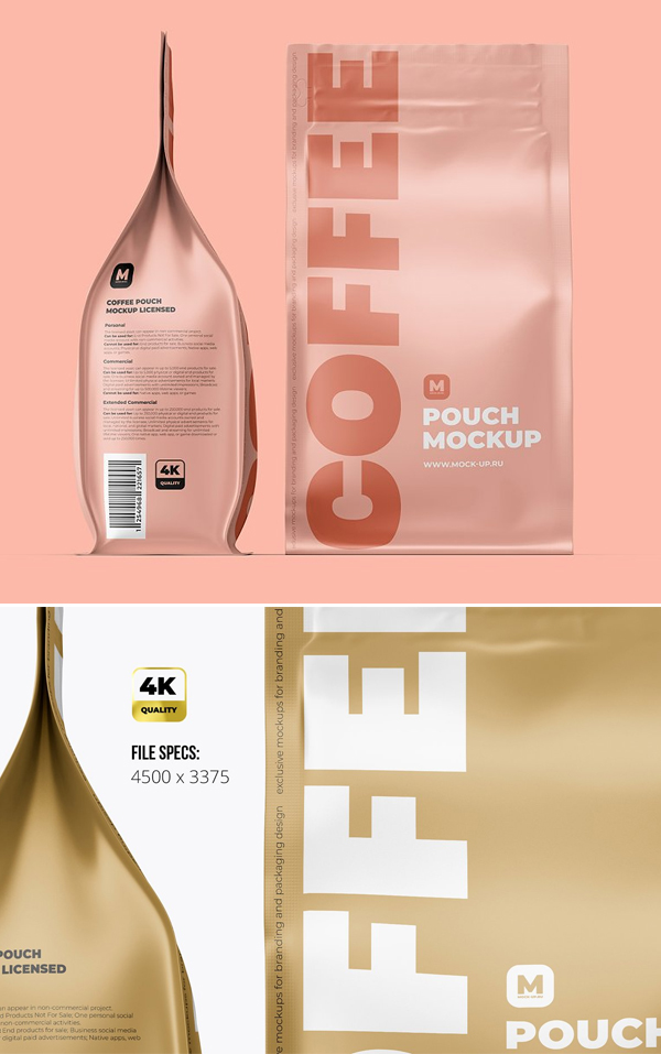 Zip Coffee Pouch Front & Side Mockup