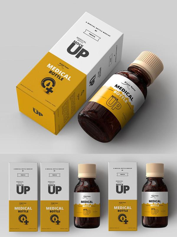 Amber Medicine Bottle Mockups