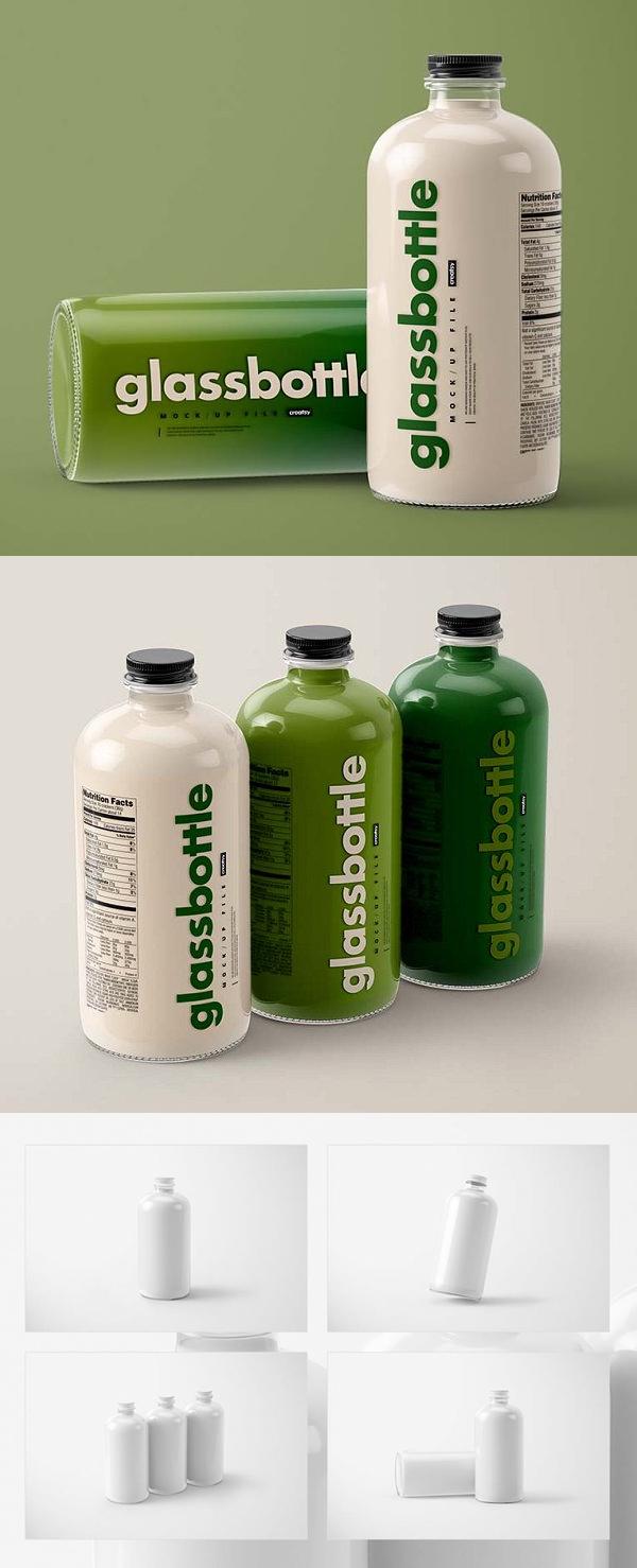 Glass Bottle Mockup Set
