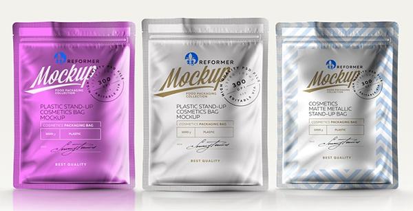 Three Plastic Cosmetics Bag Mockup