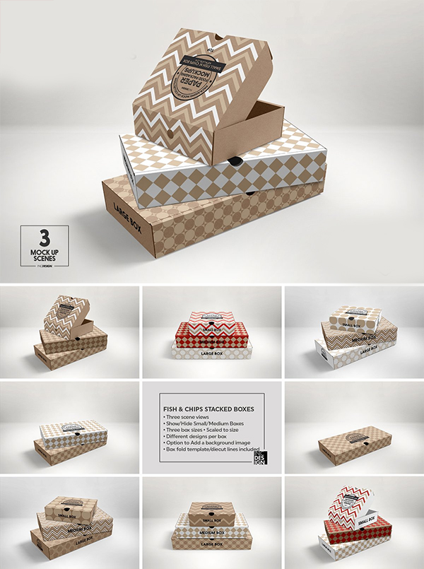 Stacked Fast Food Boxes Mockup
