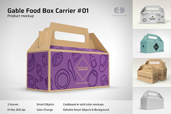 Gable Food Box Carrier Mockup