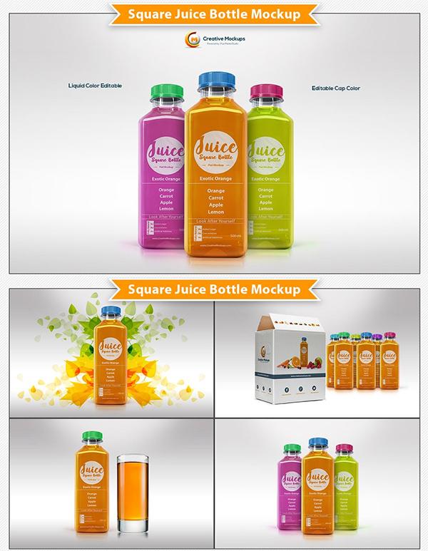 Square Juice Bottle Mockup