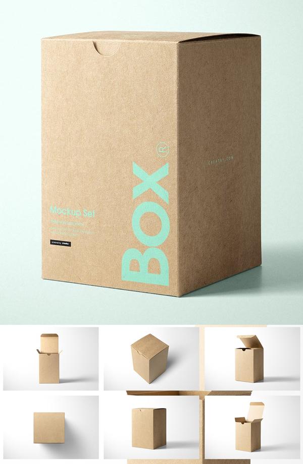 Kraft Tuck Top Gift Box Mockups Set