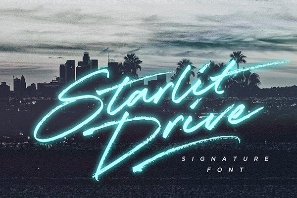 Starlit Drive Signature Font