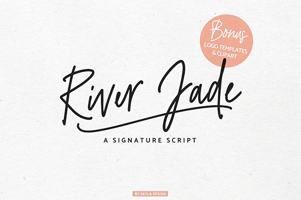 River Jade signature font & logos