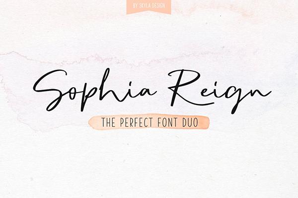 Sophia Reign signature font duo