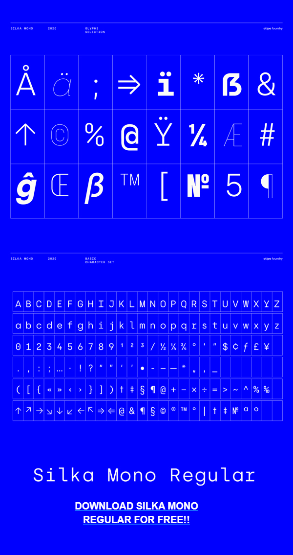 Silka Mono Free Font Letters