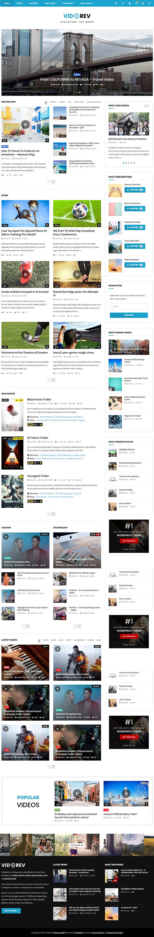 VidoRev - Video WordPress Theme