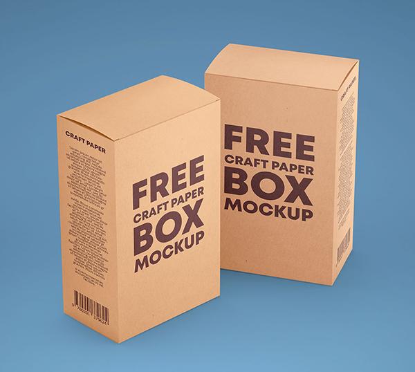 Free Kraft Paper Box Mockups