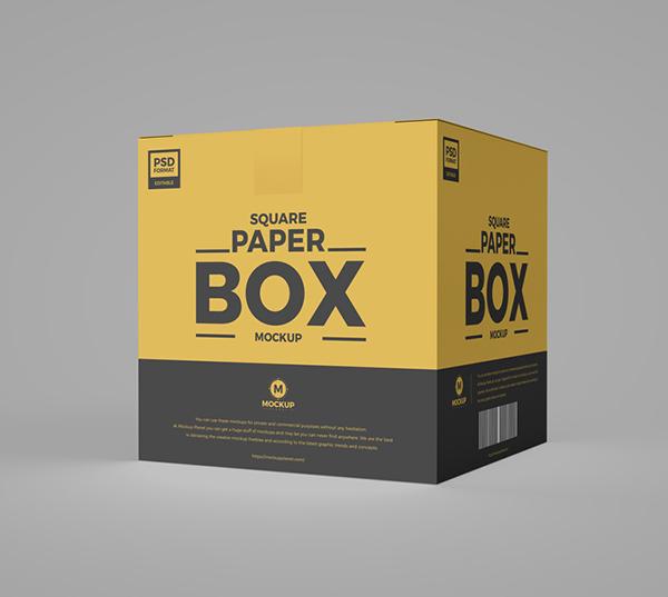 Free Square PSD Paper Box Mockup