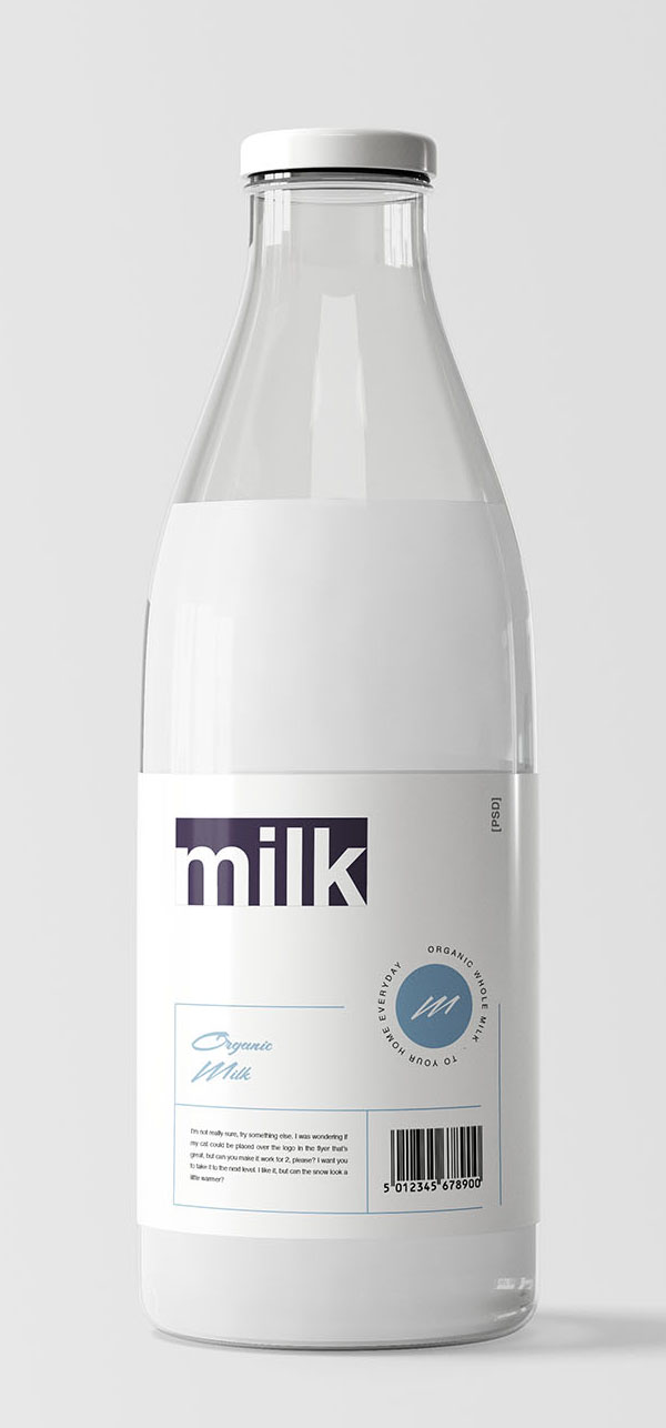 Free Milk Bottle Mockup PSD