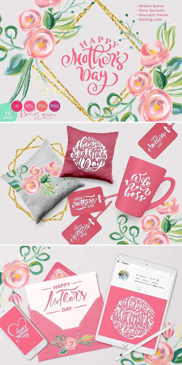 Happy Mother`s Day Vector Flower SVG