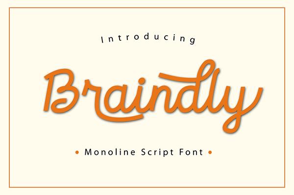 Braindly Monoline Script Free Font