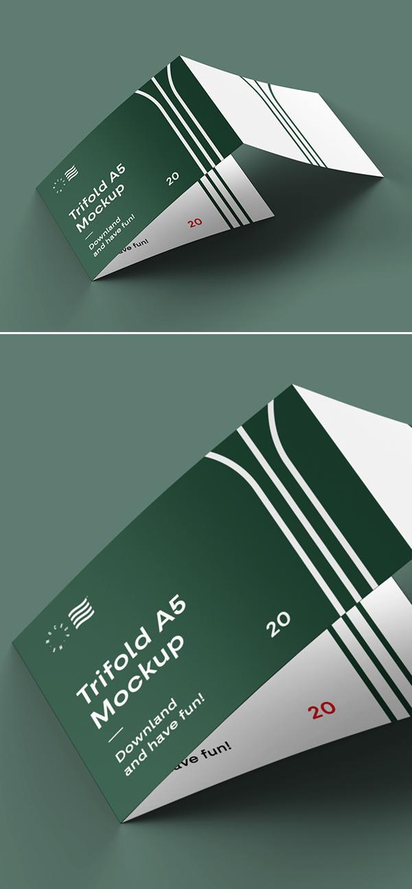 Free 3 Fold Landscape Brochure Mockup