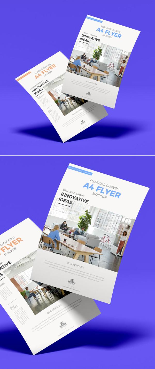 FLYERFree Stylish Curved Flyer Mockup Design