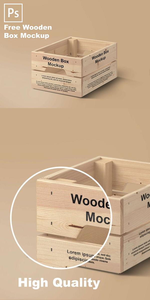 Free Wooden Box Mockup PSD