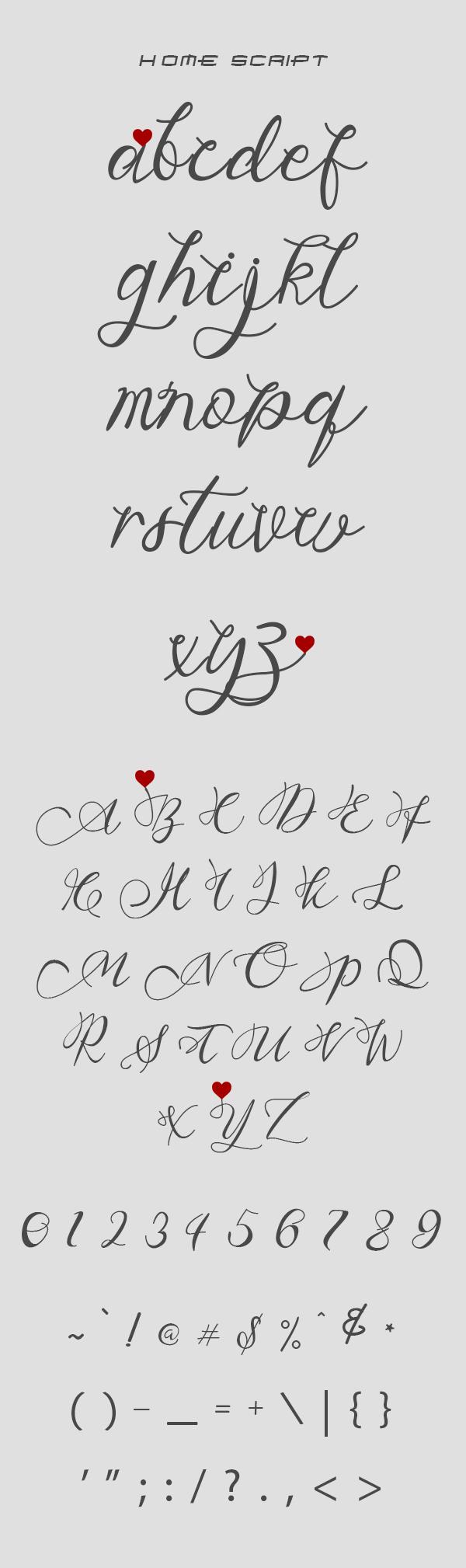 Home Script Free Font Letters