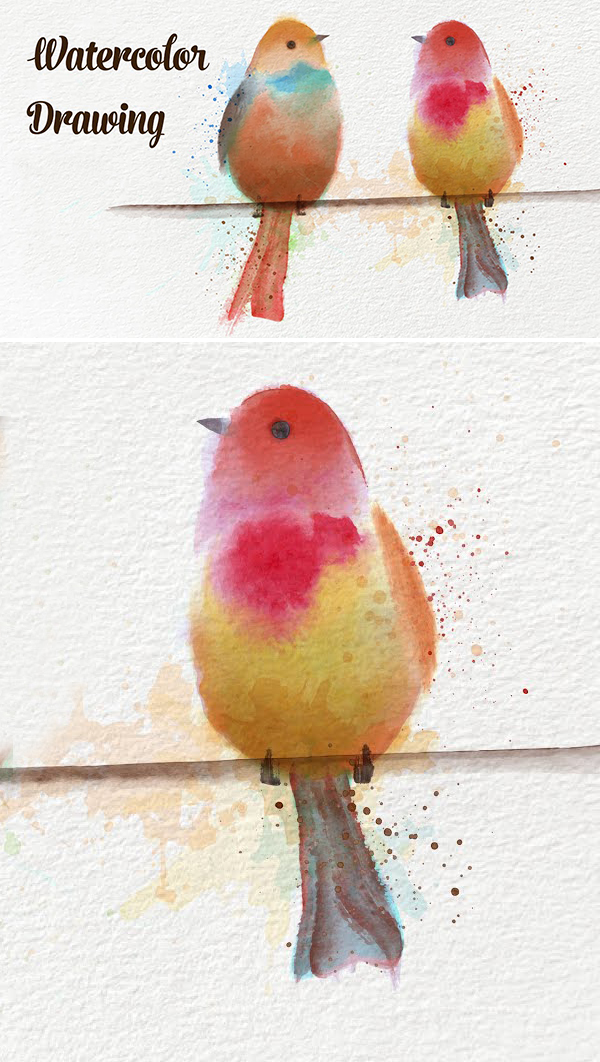 How to Draw Birds with Vector Watercolor Brushes in Adobe Illustrator Drawing Tutorial