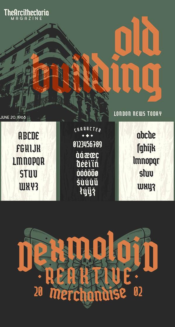 Mordova Blackletter Free Font Letters