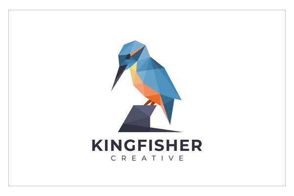 Amazing geometric kingfisher logo