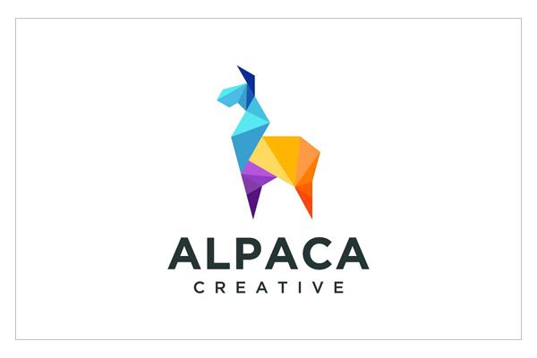 Geometric alpaca colorful logo